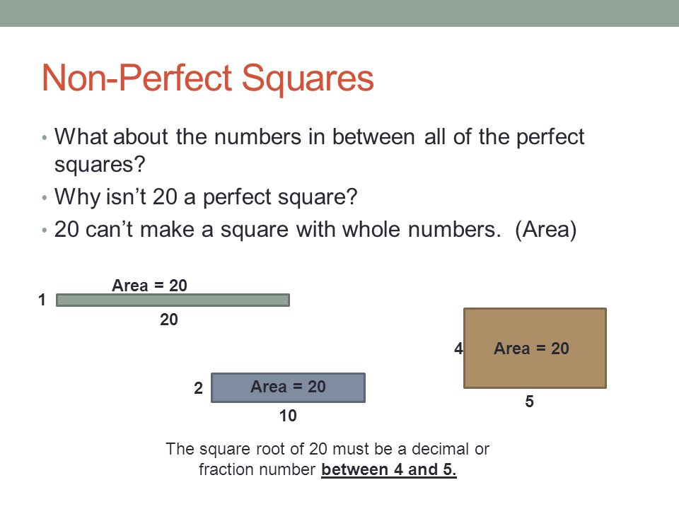 Non-Perfect Squares What about the numbers in between all of the perfect squares Why isn't 20 a perfect square