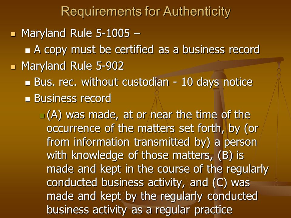 Requirements for Authenticity