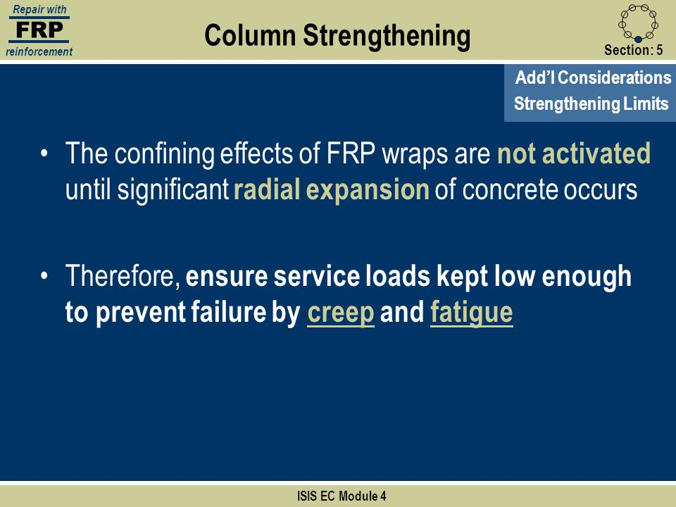 FRP Repair with. reinforcement. Column Strengthening. Section: 5. Add'l Considerations. Strengthening Limits.