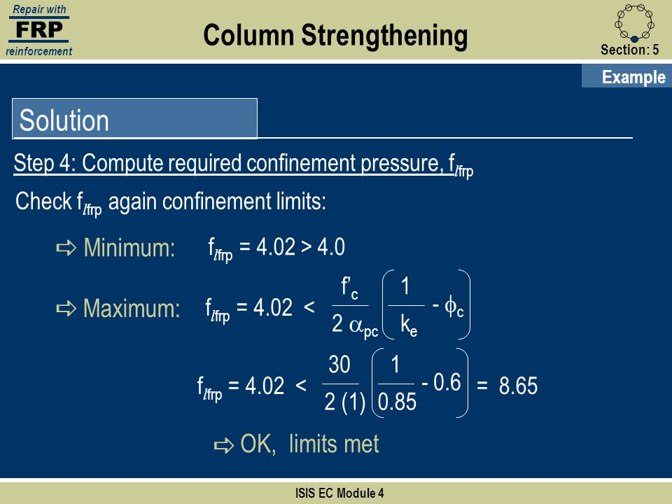 Column Strengthening Solution a Minimum: a Maximum: OK, limits met
