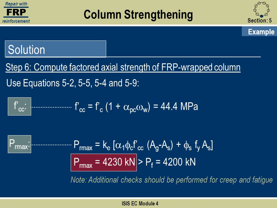 Column Strengthening Solution f'cc: f'cc = f'c (1 + apcww) = 44.4 MPa