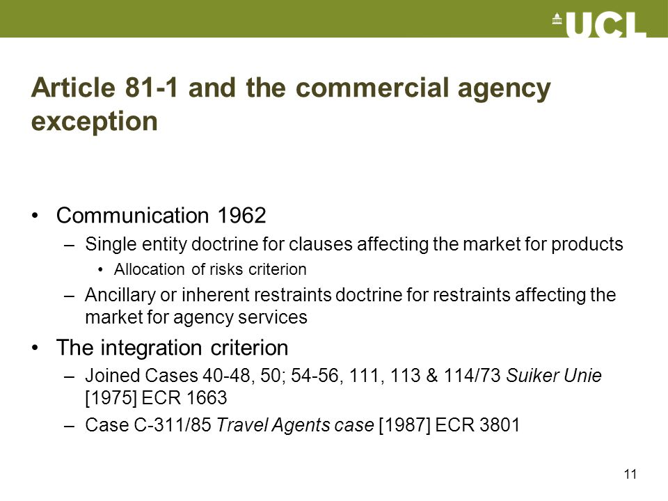Article 81-1 and the commercial agency exception