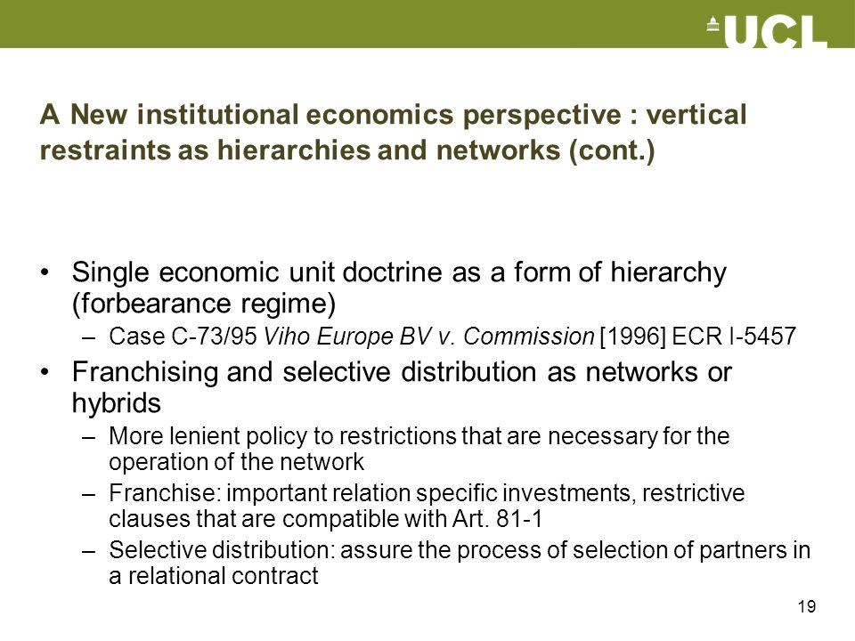 Franchising and selective distribution as networks or hybrids