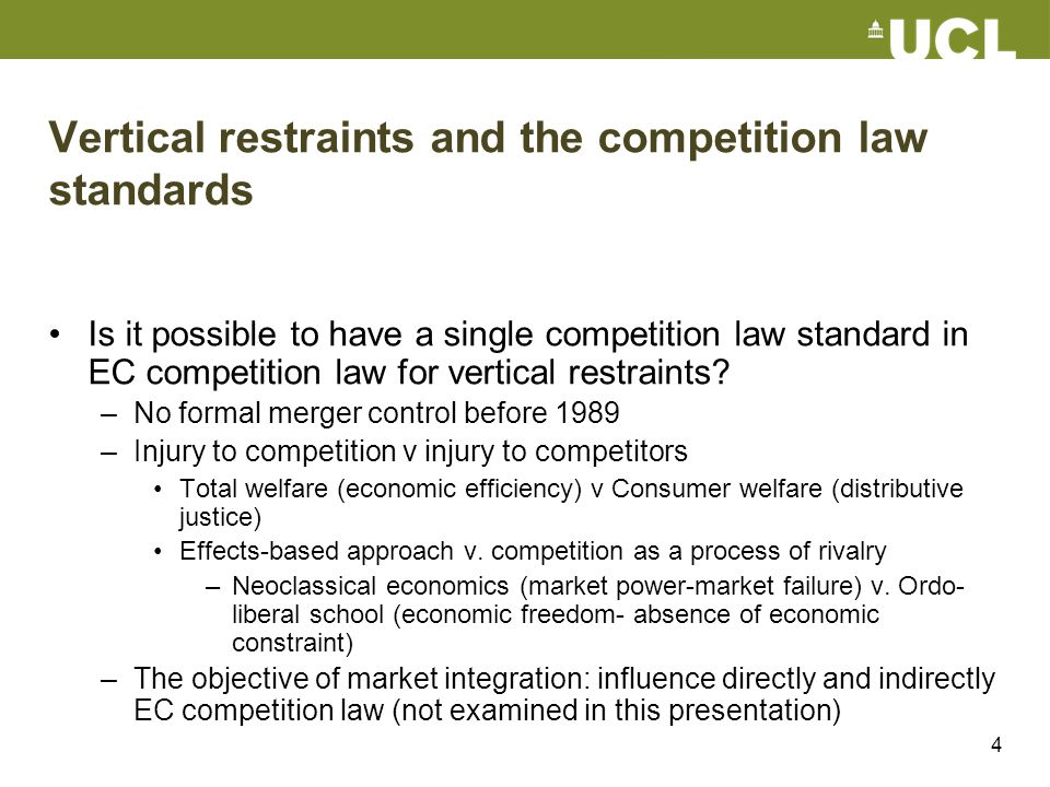 Vertical restraints and the competition law standards