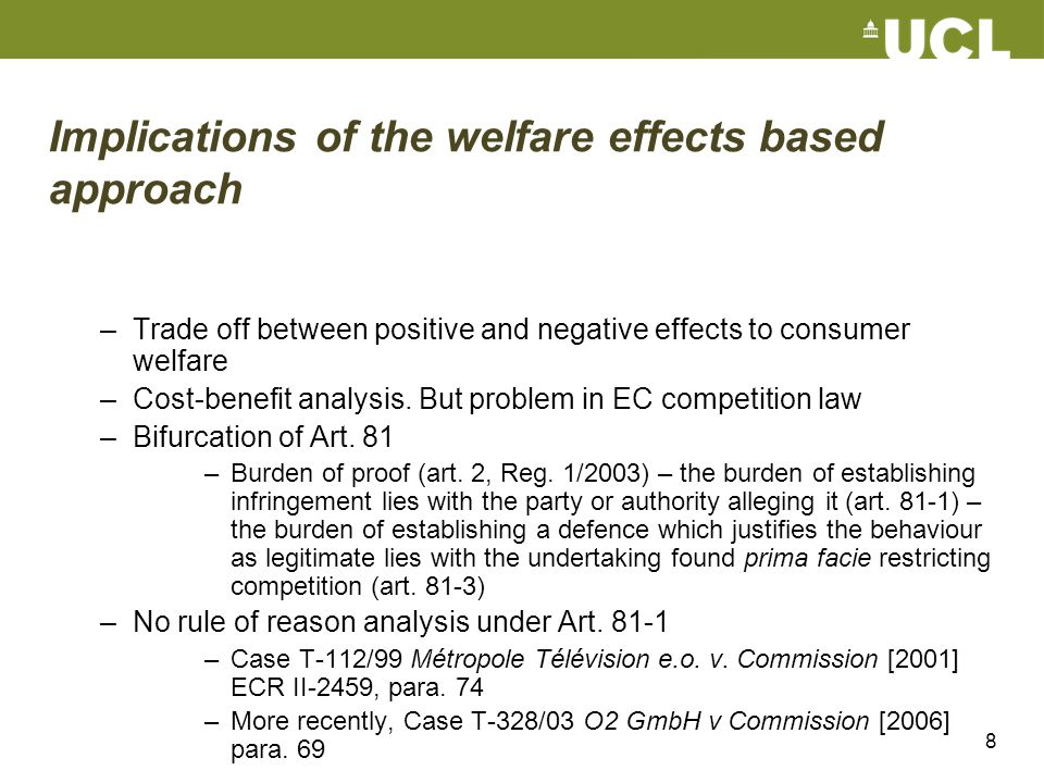 Implications of the welfare effects based approach