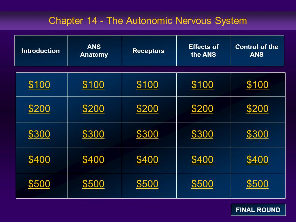 Chapter 14 - The Autonomic Nervous System - ppt download