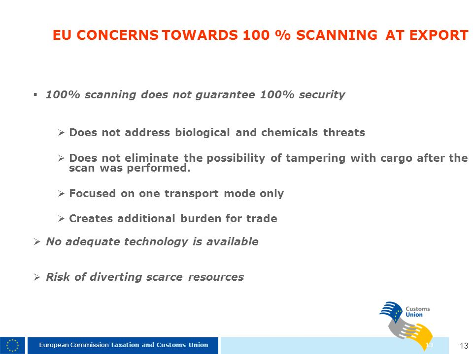 EU CONCERNS TOWARDS 100 % SCANNING AT EXPORT