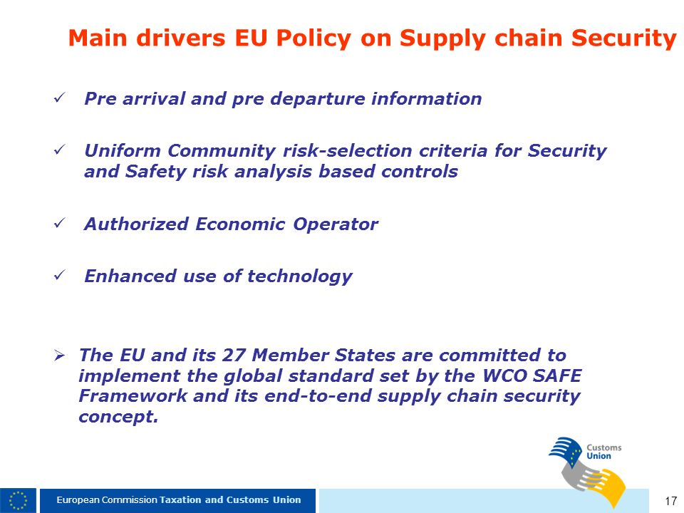 Main drivers EU Policy on Supply chain Security