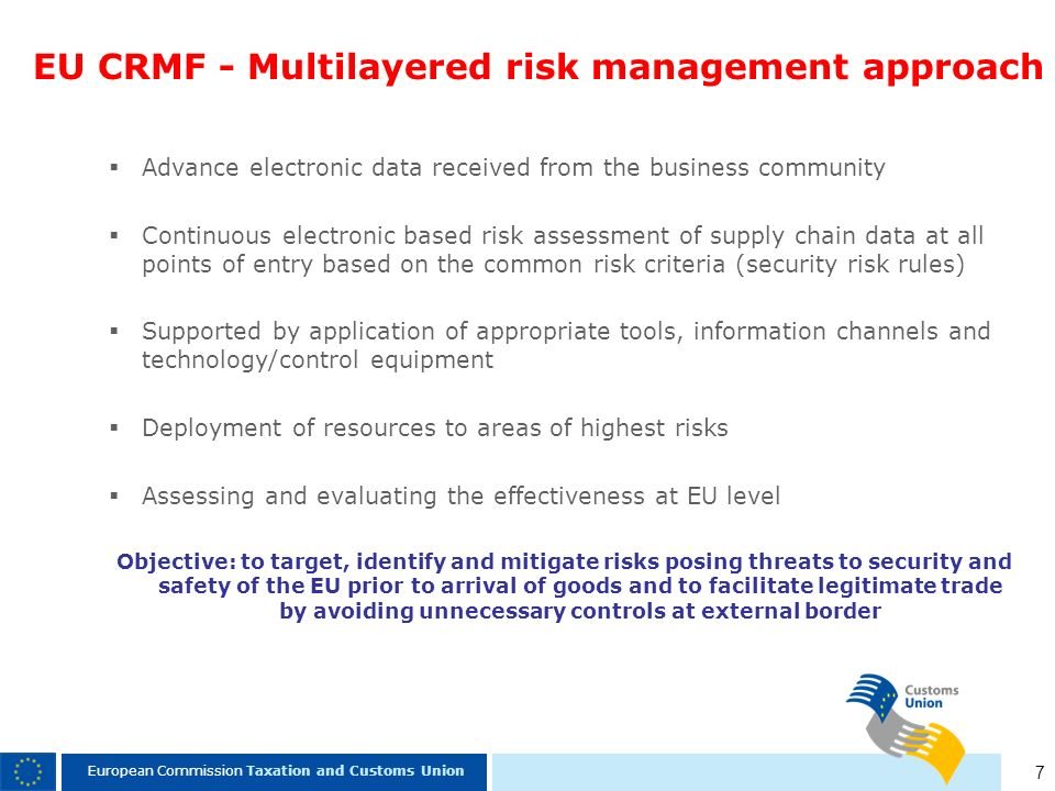 EU CRMF - Multilayered risk management approach