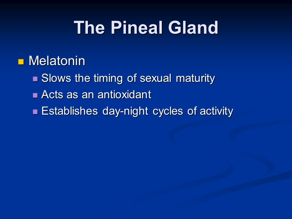 The Pineal Gland Melatonin Slows the timing of sexual maturity