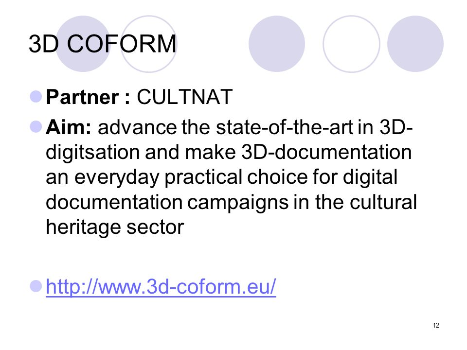 3D COFORM Partner : CULTNAT