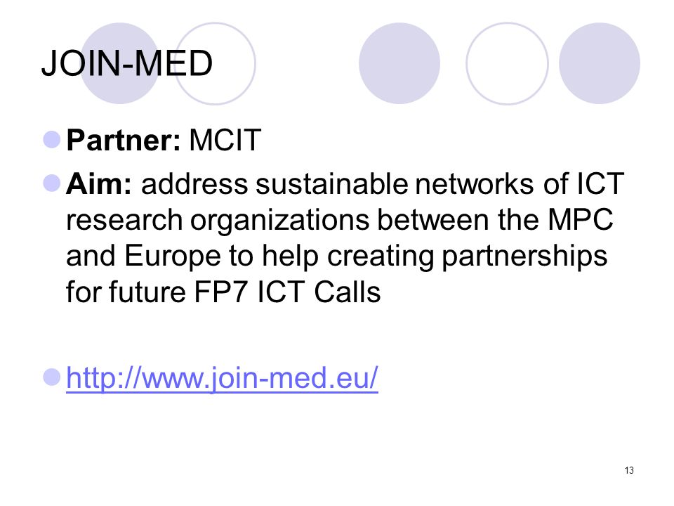 JOIN-MED Partner: MCIT
