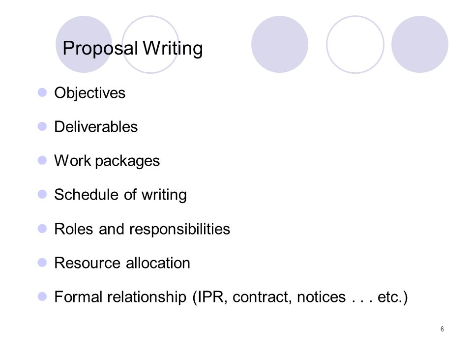 Proposal Writing Objectives Deliverables Work packages