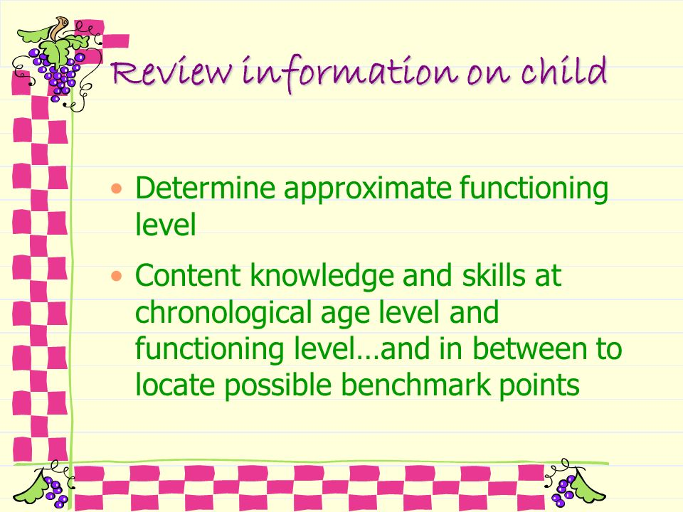 Review information on child