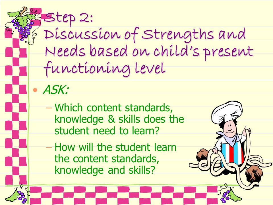 Step 2: Discussion of Strengths and Needs based on child's present functioning level