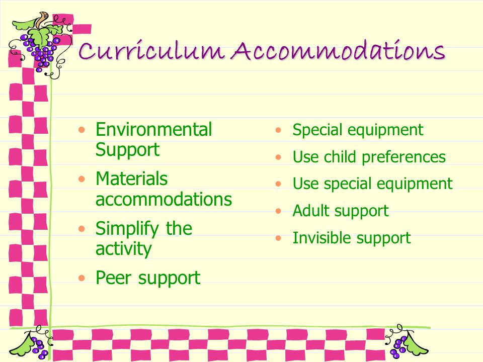 Curriculum Accommodations