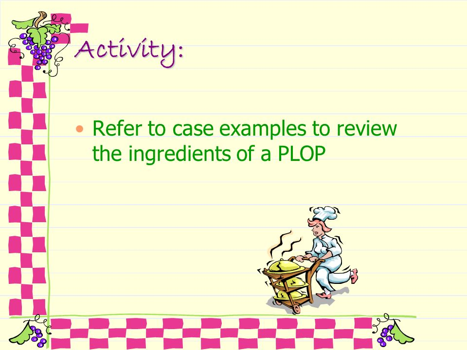Activity: Refer to case examples to review the ingredients of a PLOP