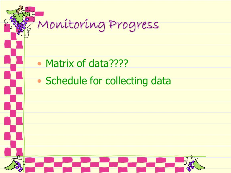 Monitoring Progress Matrix of data Schedule for collecting data