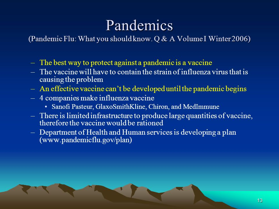 Pandemics (Pandemic Flu: What you should know