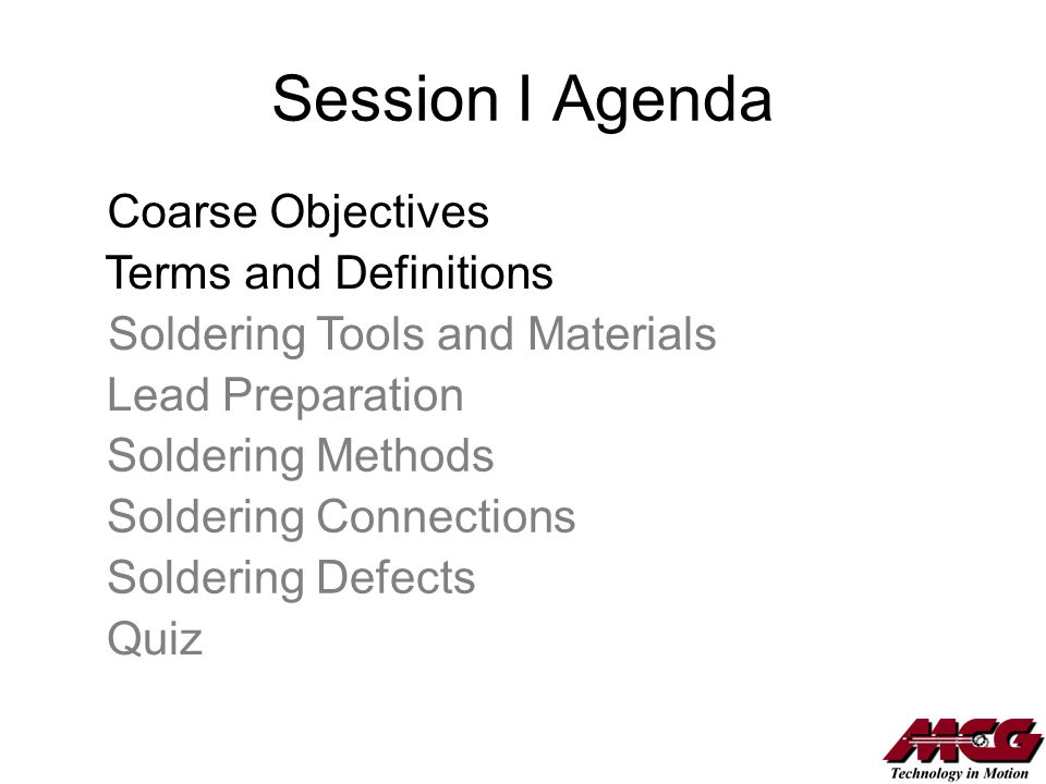 Session I Agenda Coarse Objectives Terms and Definitions