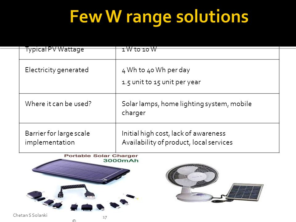Few W range solutions Typical PV Wattage 1 W to 10 W
