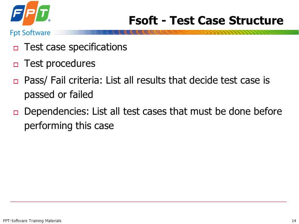 Fsoft - Test Case Structure