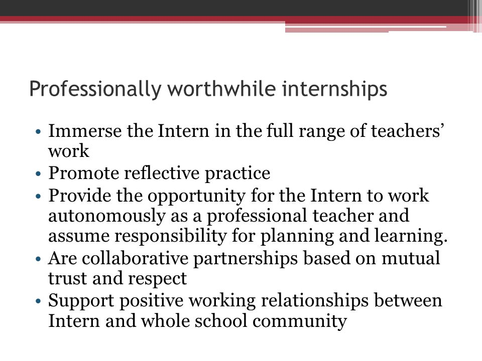 Professionally worthwhile internships