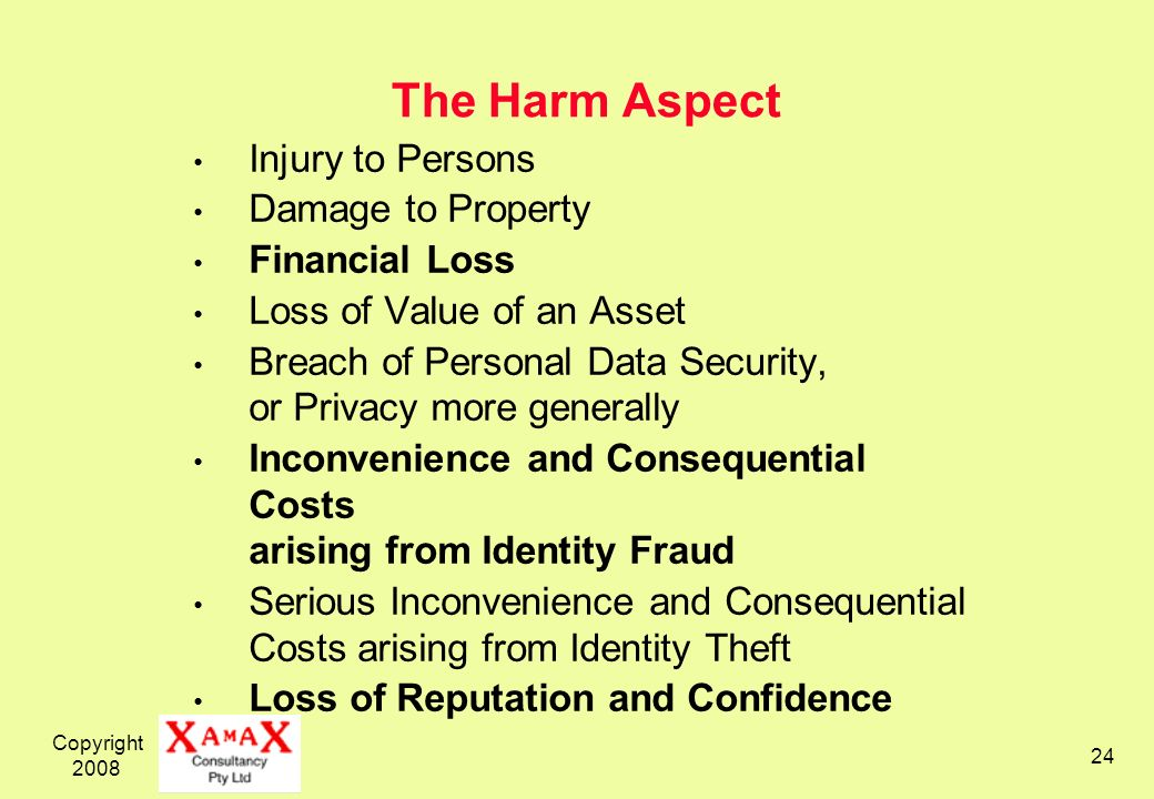 The Harm Aspect Injury to Persons Damage to Property Financial Loss