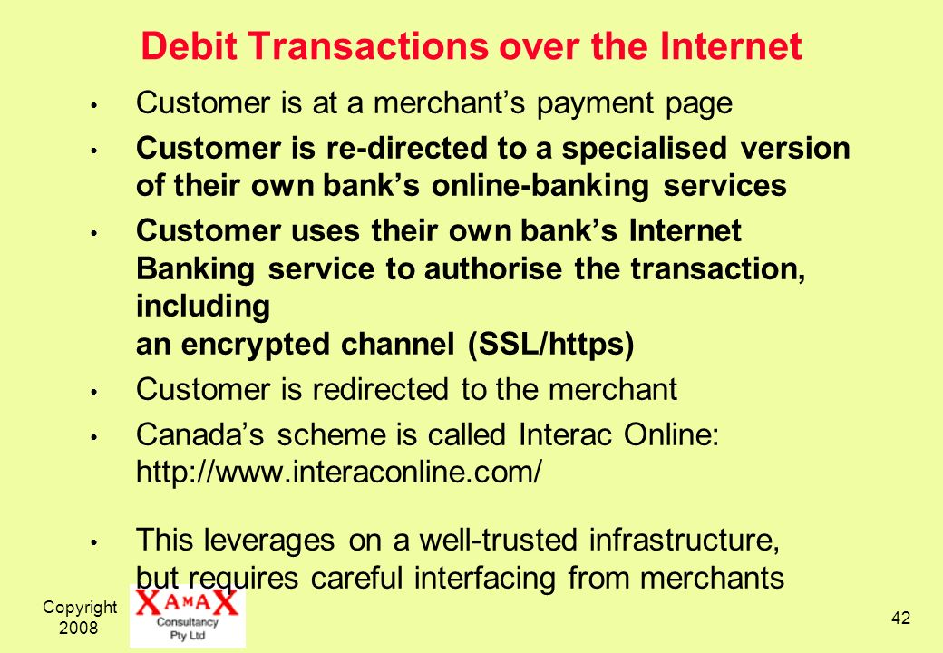 Debit Transactions over the Internet