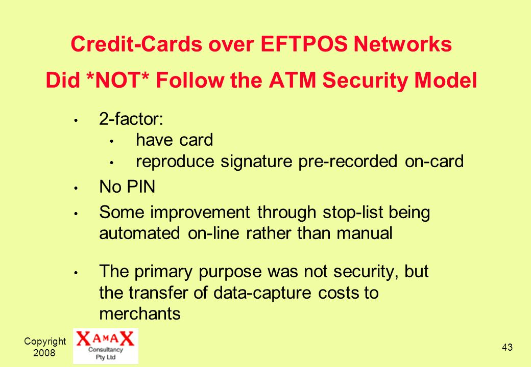 Credit-Cards over EFTPOS Networks Did. NOT