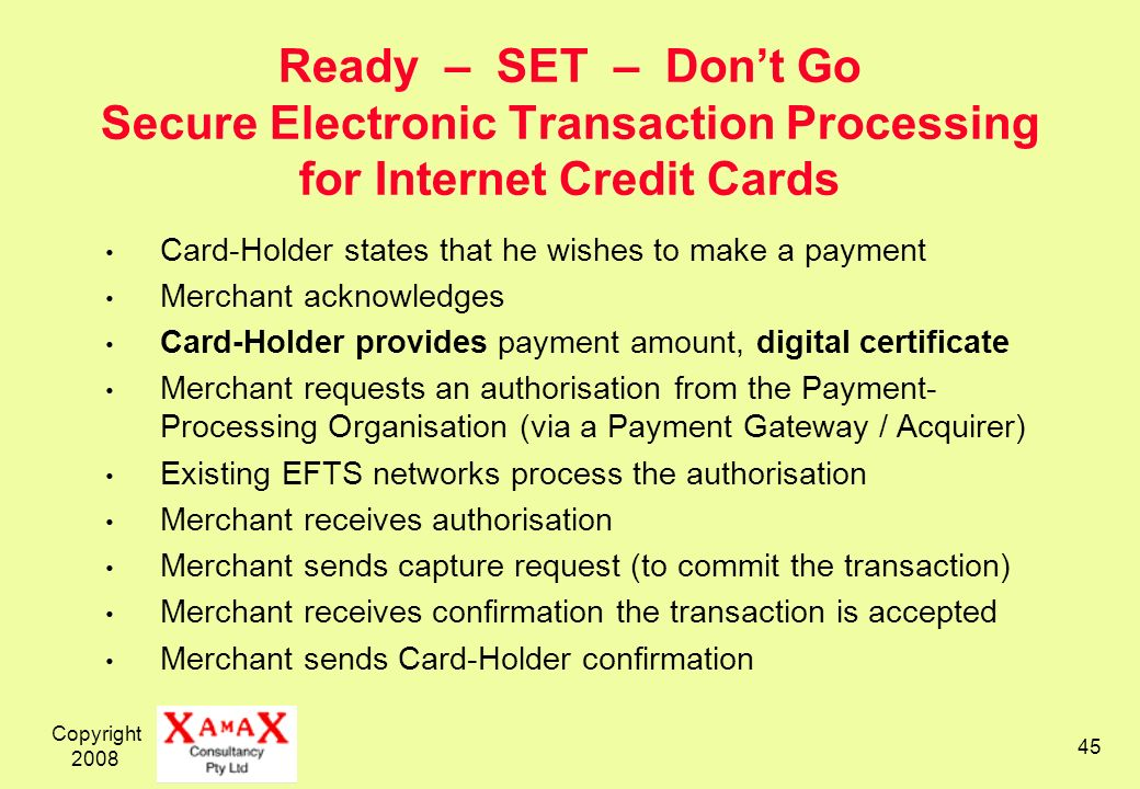 Ready – SET – Don't Go Secure Electronic Transaction Processing for Internet Credit Cards