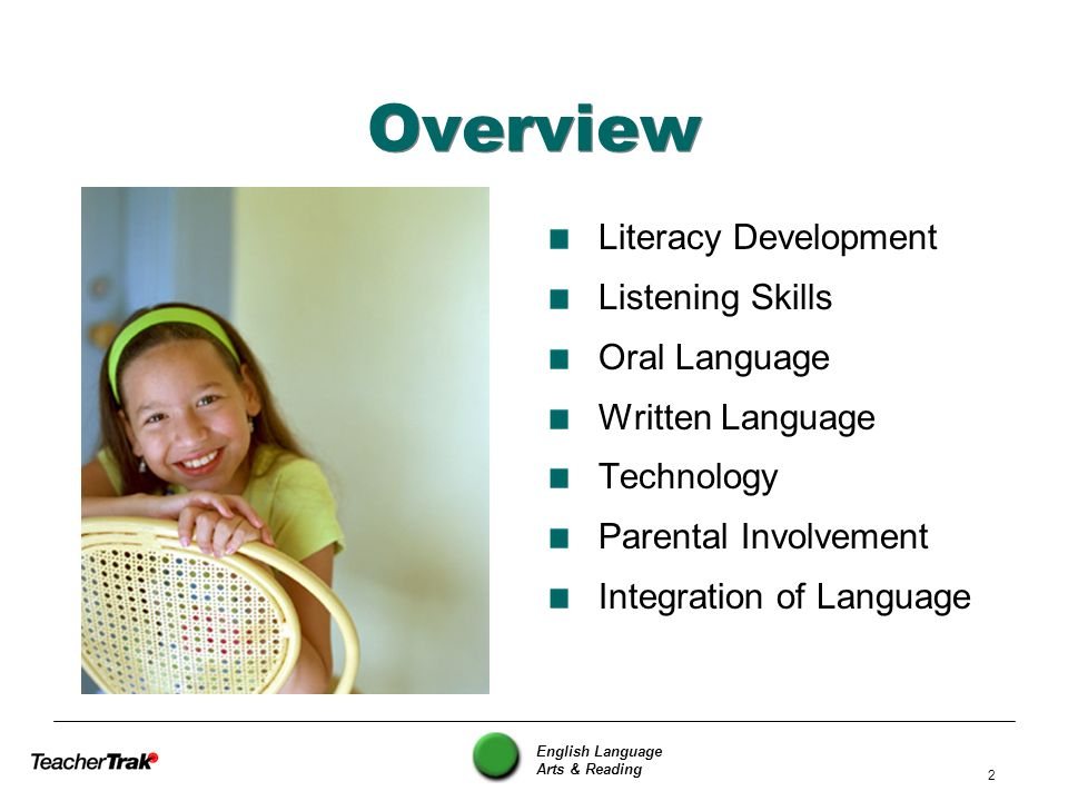 Overview Literacy Development Listening Skills Oral Language