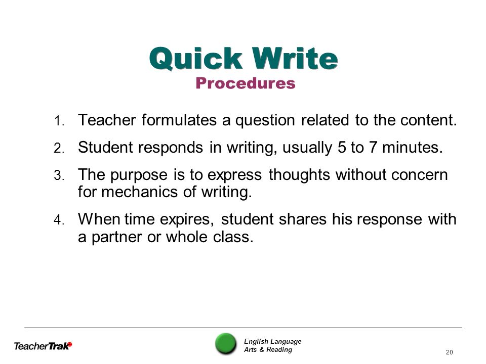 Quick Write Procedures