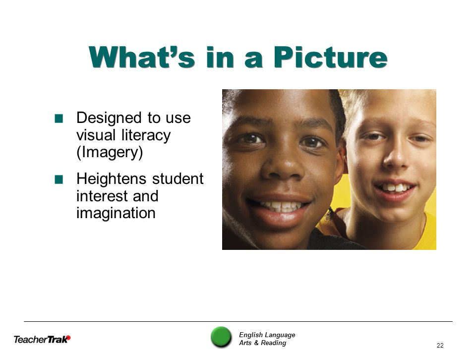 What's in a Picture Designed to use visual literacy (Imagery)