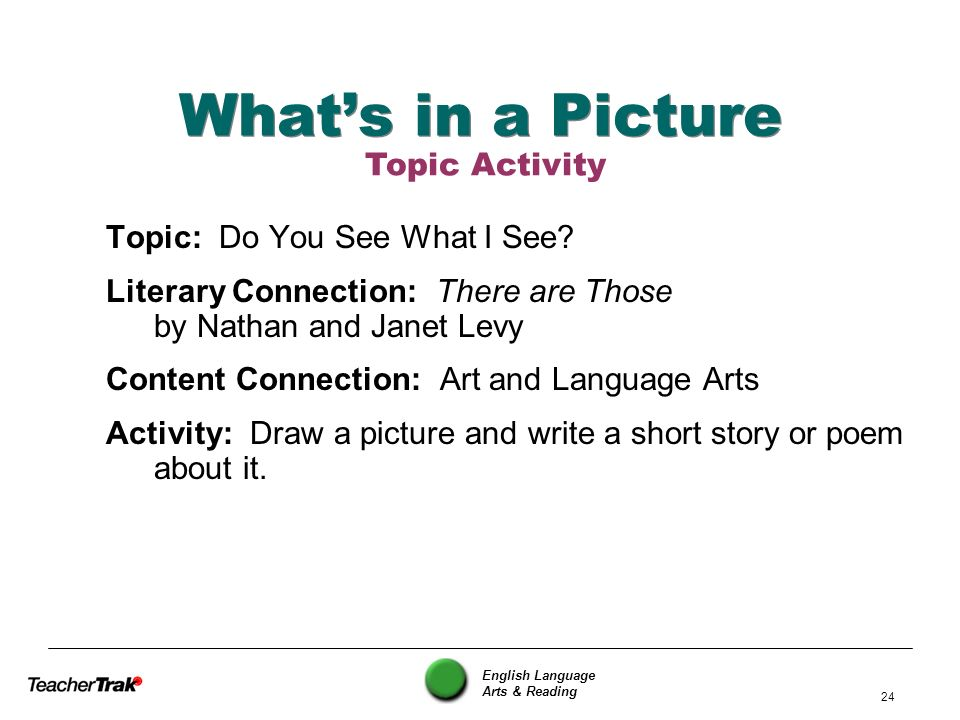 What's in a Picture Topic Activity Topic: Do You See What I See