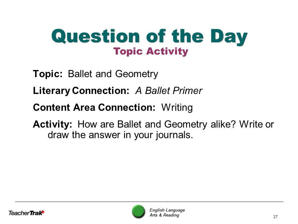 Question of the Day Topic Activity Topic: Ballet and Geometry