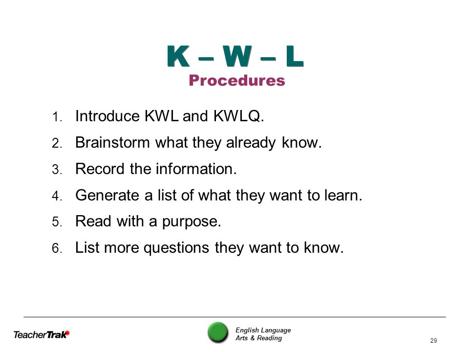 K – W – L Procedures Introduce KWL and KWLQ.