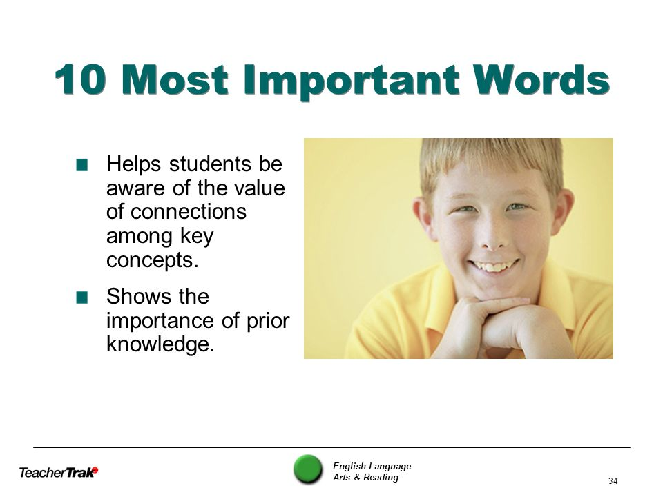 10 Most Important Words Helps students be aware of the value of connections among key concepts. Shows the importance of prior knowledge.