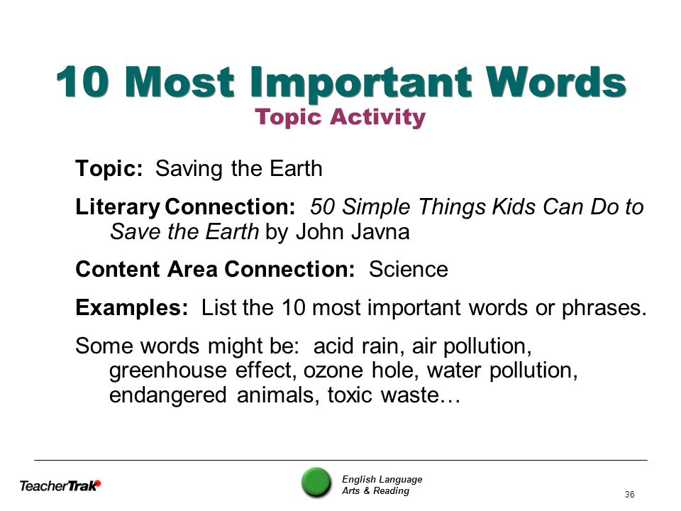 10 Most Important Words Topic Activity Topic: Saving the Earth