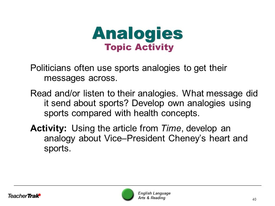 Analogies Topic Activity