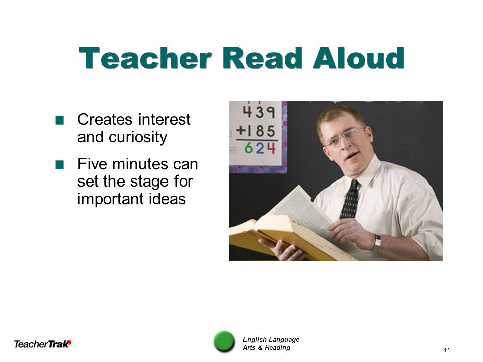 Teacher Read Aloud Creates interest and curiosity