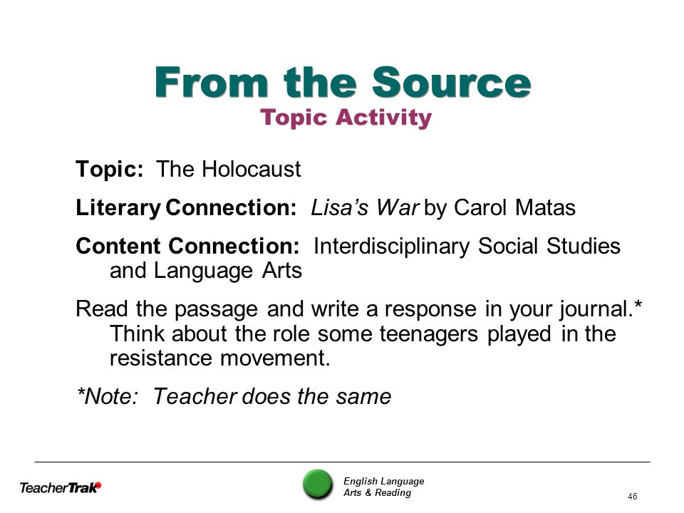 From the Source Topic Activity Topic: The Holocaust