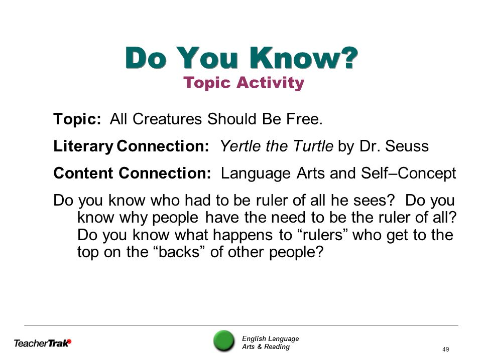 Do You Know Topic Activity Topic: All Creatures Should Be Free.
