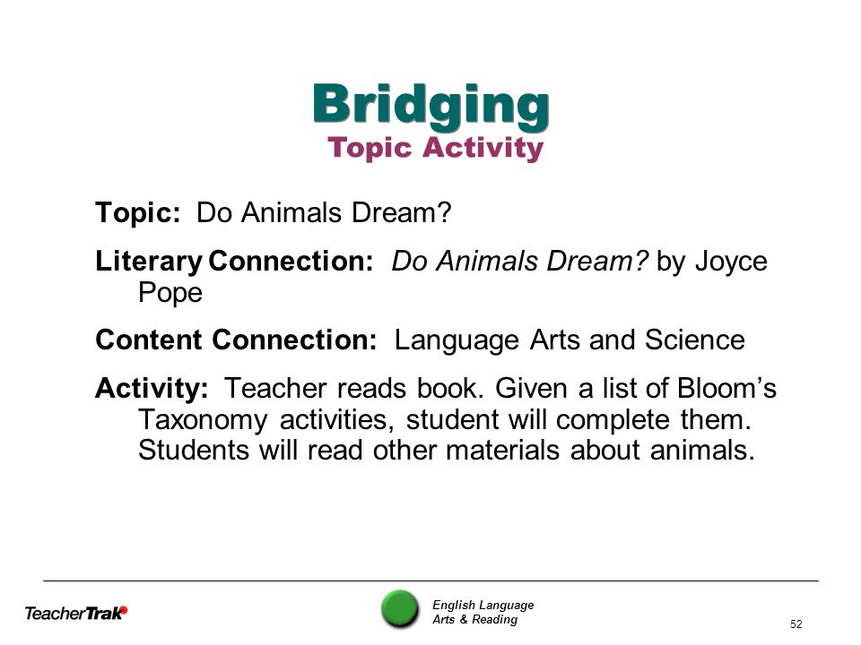 Bridging Topic Activity Topic: Do Animals Dream