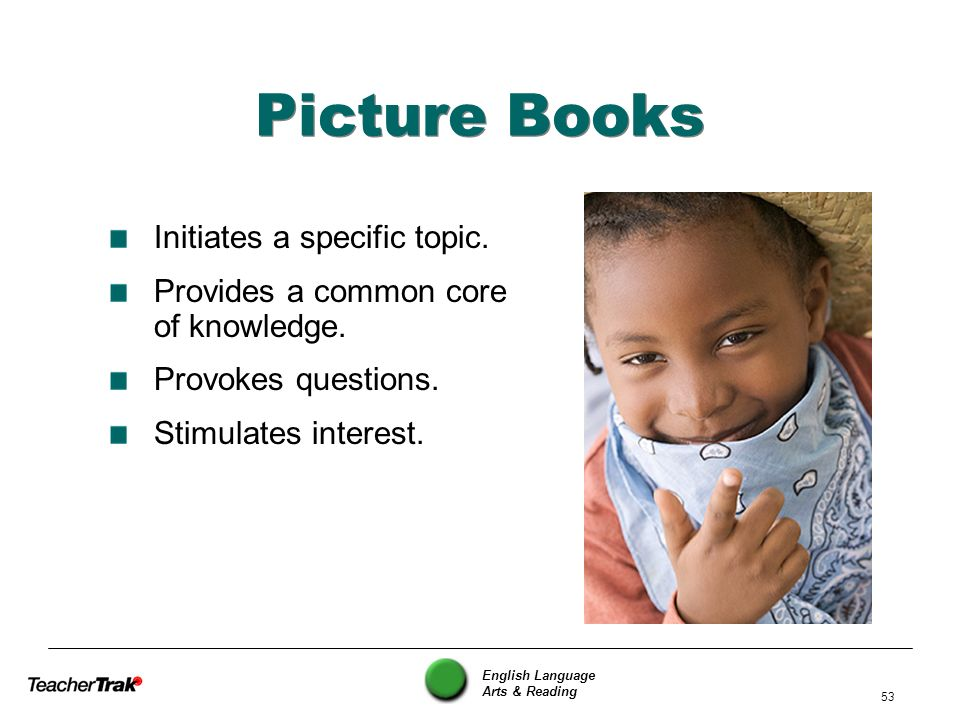 Picture Books Initiates a specific topic.