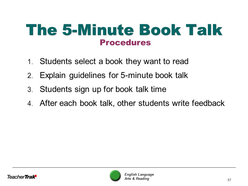The 5-Minute Book Talk Procedures