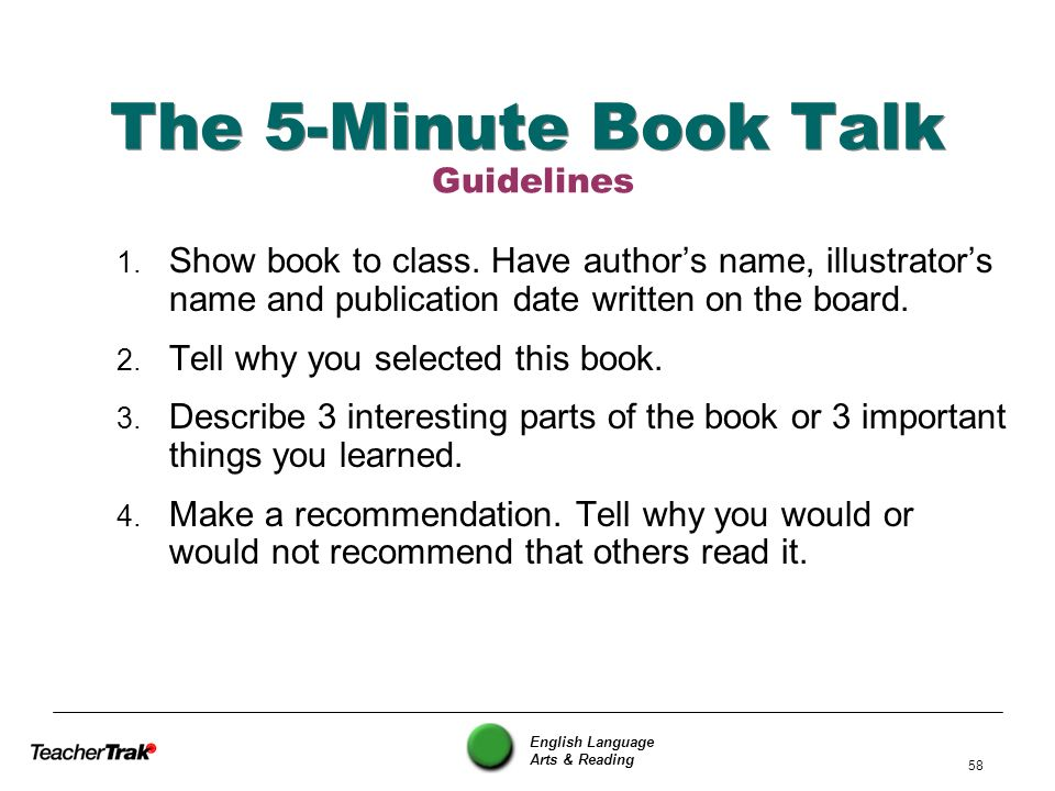 The 5-Minute Book Talk Guidelines