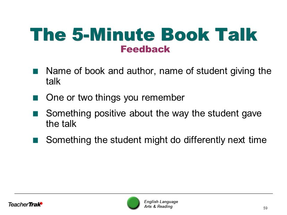 The 5-Minute Book Talk Feedback