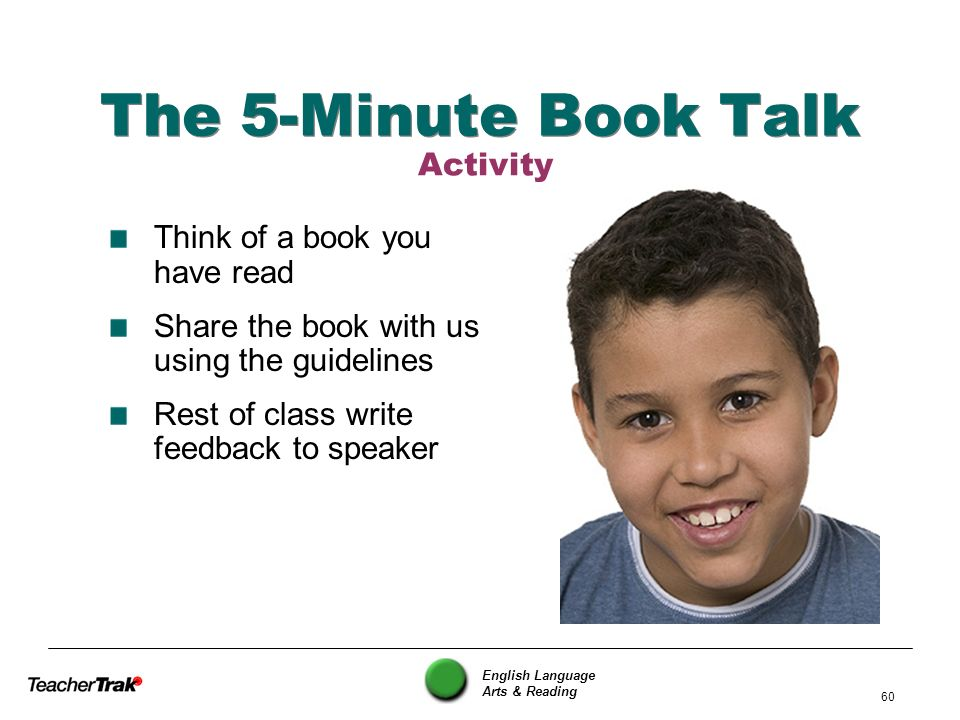 The 5-Minute Book Talk Activity Think of a book you have read