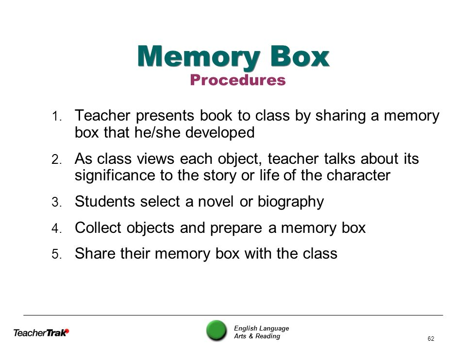 Memory Box Procedures. Teacher presents book to class by sharing a memory box that he/she developed.